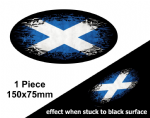 Fade To Black OVAL Design & Scotland Scottish Saltire St Andrews Flag Vinyl Car sticker 150x75mm